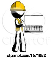 Ink Construction Worker Contractor Man Holding Laptop Computer Presenting Something On Screen
