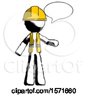 Ink Construction Worker Contractor Man With Word Bubble Talking Chat Icon