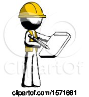 Ink Construction Worker Contractor Man Using Clipboard And Pencil