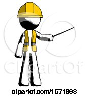 Ink Construction Worker Contractor Man Teacher Or Conductor With Stick Or Baton Directing