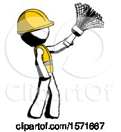 Ink Construction Worker Contractor Man Dusting With Feather Duster Upwards