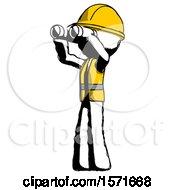 Ink Construction Worker Contractor Man Looking Through Binoculars To The Left
