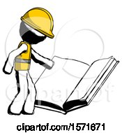 Poster, Art Print Of Ink Construction Worker Contractor Man Reading Big Book While Standing Beside It
