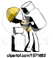 Ink Construction Worker Contractor Man Holding Large White Medicine Bottle With Bottle In Background