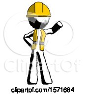 Ink Construction Worker Contractor Man Waving Left Arm With Hand On Hip