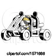 Ink Construction Worker Contractor Man Riding Sports Buggy Side Angle View