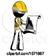 Ink Construction Worker Contractor Man Holding Blueprints Or Scroll