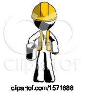 Ink Construction Worker Contractor Man Begger Holding Can Begging Or Asking For Charity