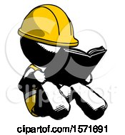 Poster, Art Print Of Ink Construction Worker Contractor Man Reading Book While Sitting Down