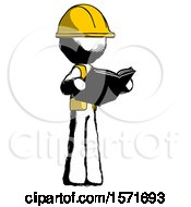 Poster, Art Print Of Ink Construction Worker Contractor Man Reading Book While Standing Up Facing Away