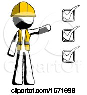 Ink Construction Worker Contractor Man Standing By List Of Checkmarks