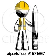 Ink Construction Worker Contractor Man With Large Pencil Standing Ready To Write