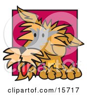 Curious Brown Dog Clipart Illustration