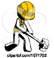 Ink Construction Worker Contractor Man Hitting With Sledgehammer Or Smashing Something At Angle