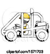 Ink Construction Worker Contractor Man Riding Sports Buggy Side View