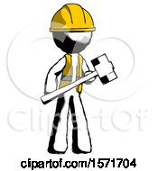 Ink Construction Worker Contractor Man With Sledgehammer Standing Ready To Work Or Defend