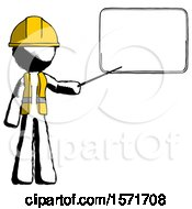Ink Construction Worker Contractor Man Giving Presentation In Front Of Dry Erase Board