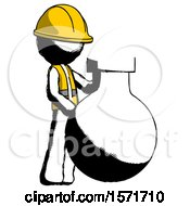 Ink Construction Worker Contractor Man Standing Beside Large Round Flask Or Beaker
