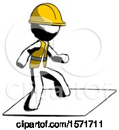 Ink Construction Worker Contractor Man On Postage Envelope Surfing