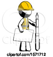 Ink Construction Worker Contractor Man Holding Large Envelope And Calligraphy Pen