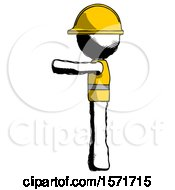 Ink Construction Worker Contractor Man Pointing Left