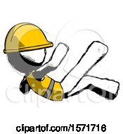 Ink Construction Worker Contractor Man Falling Backwards