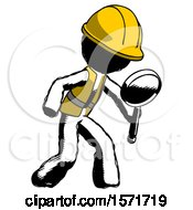 Ink Construction Worker Contractor Man Inspecting With Large Magnifying Glass Right