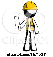 Ink Construction Worker Contractor Man Holding Meat Cleaver