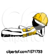 Ink Construction Worker Contractor Man Reclined On Side by Leo Blanchette