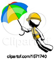 Ink Construction Worker Contractor Man Flying With Rainbow Colored Umbrella by Leo Blanchette