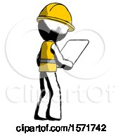Ink Construction Worker Contractor Man Looking At Tablet Device Computer Facing Away