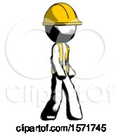 Ink Construction Worker Contractor Man Walking Turned Right Front View by Leo Blanchette