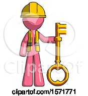 Pink Construction Worker Contractor Man Holding Key Made Of Gold