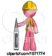 Pink Construction Worker Contractor Man Standing With Large Thermometer