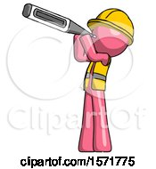 Pink Construction Worker Contractor Man Thermometer In Mouth