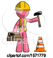 Pink Construction Worker Contractor Man Under Construction Concept Traffic Cone And Tools