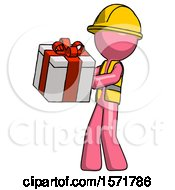 Pink Construction Worker Contractor Man Presenting A Present With Large Red Bow On It