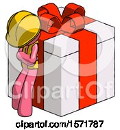 Pink Construction Worker Contractor Man Leaning On Gift With Red Bow Angle View
