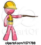 Pink Construction Worker Contractor Man Pointing With Hiking Stick