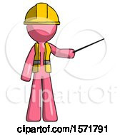 Pink Construction Worker Contractor Man Teacher Or Conductor With Stick Or Baton Directing