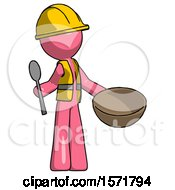 Pink Construction Worker Contractor Man With Empty Bowl And Spoon Ready To Make Something