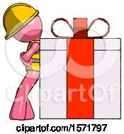 Pink Construction Worker Contractor Man Gift Concept Leaning Against Large Present