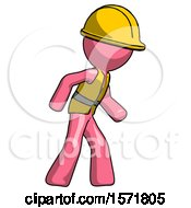 Pink Construction Worker Contractor Man Suspense Action Pose Facing Right