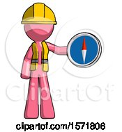 Pink Construction Worker Contractor Man Holding A Large Compass