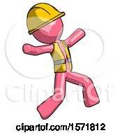 Pink Construction Worker Contractor Man Running Away In Hysterical Panic Direction Right