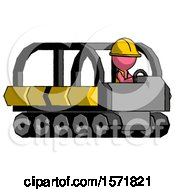 Pink Construction Worker Contractor Man Driving Amphibious Tracked Vehicle Side Angle View