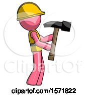 Pink Construction Worker Contractor Man Hammering Something On The Right