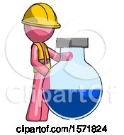 Pink Construction Worker Contractor Man Standing Beside Large Round Flask Or Beaker