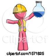 Pink Construction Worker Contractor Man Holding Large Round Flask Or Beaker
