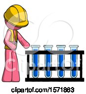 Pink Construction Worker Contractor Man Using Test Tubes Or Vials On Rack